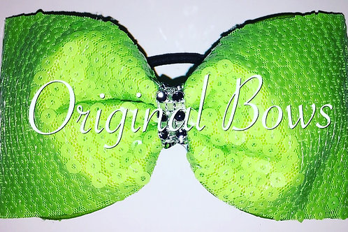 Lime Green Sequin Tailless Cheer BOW
