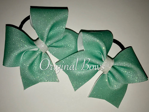 Teal Glitter Mini Cheer Bow