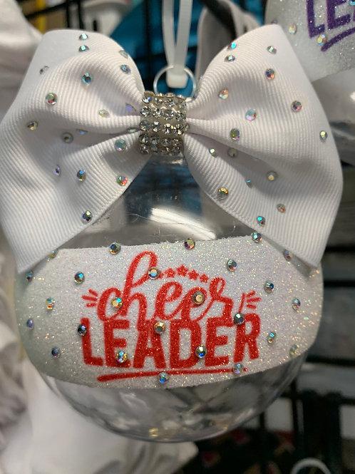 Cheerleader Red Clear Rhinestone BALL Cheer Bow Christmas Ornament