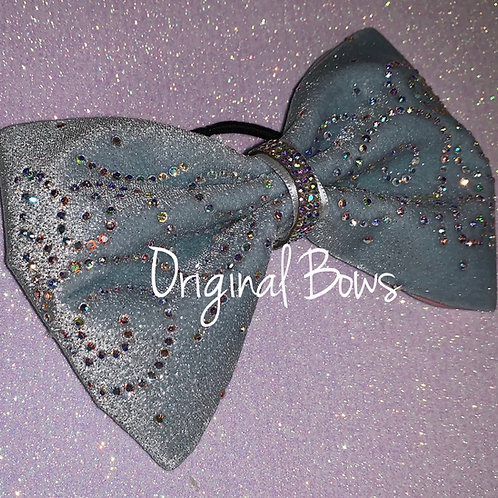 "Velvet Ice Blue 4"" Tailless Swirl Rhinestone Cheer Bow"