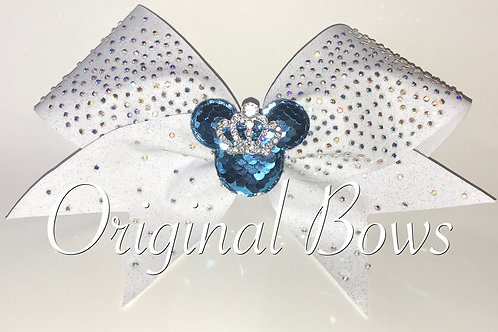 White blue Rhinestone Mouse Queen Glitter Bow