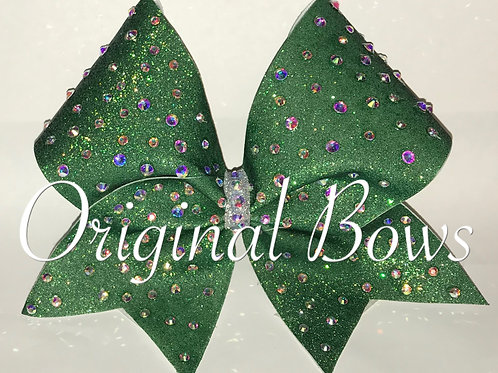 Green Glitter gem Cheer Bow