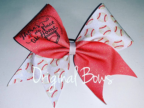 There's no place like HOME Baseball Glitter Bow
