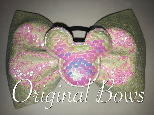"Mouse Iridescent 4"" Glitter Tailless Bow"