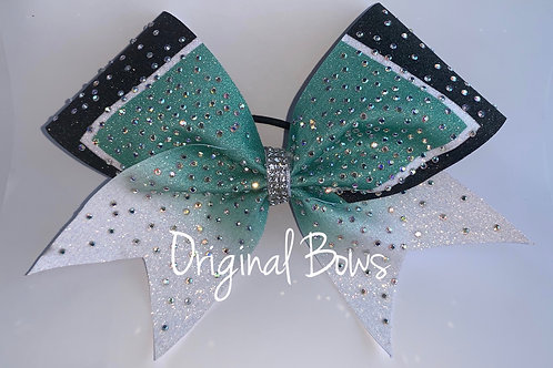 T Style Teal Ombré Clustered Rhinestone Glitter Bow