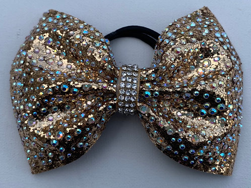 "GOLD 4"" Tailless Rhinestone glitter Cheer Bow"