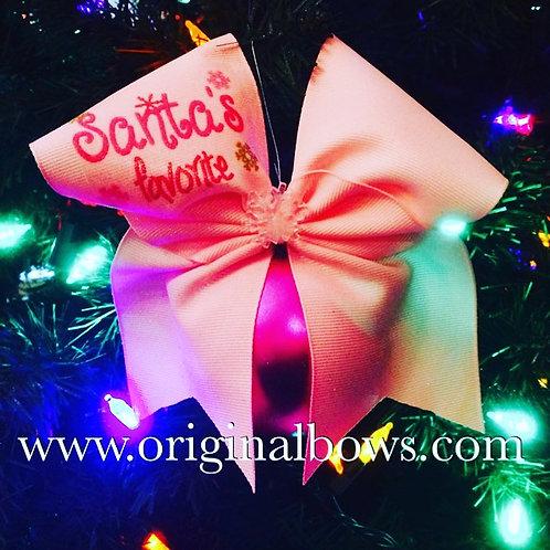 Santa's Favorite Cheer Bow Pink Christmas Tree Ornaments