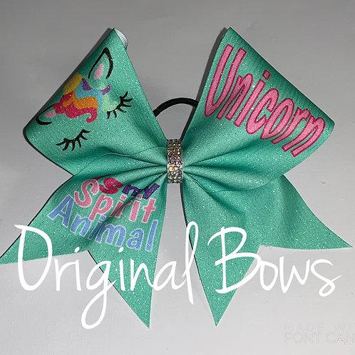 Mint Unicorn is My Spirit Animal glitter Cheer Bow