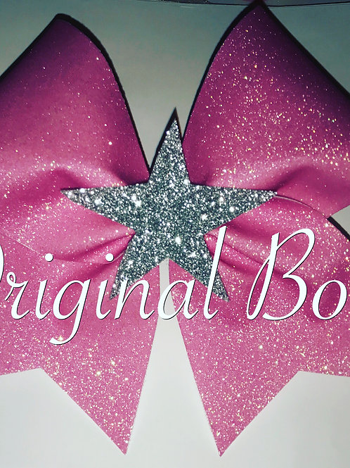 Pretty in Pink Glitter Star 3D cheer bow
