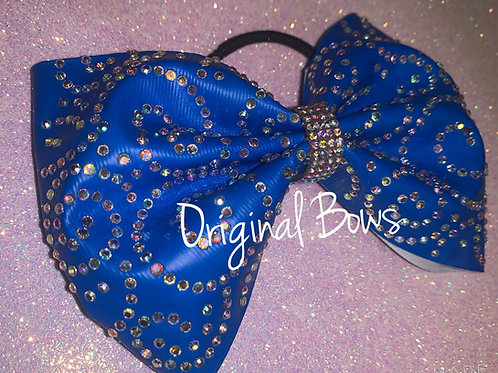 "Neon Blue  4"" Tailless Swirl Rhinestone Cheer Bow"