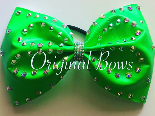 """Brightest GREEN 4"""" Bling Tailless Bow"""