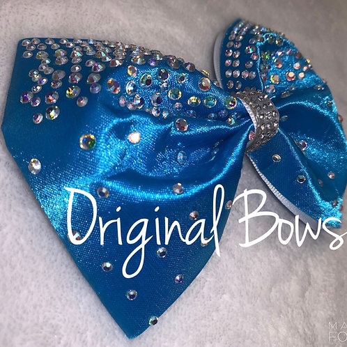 "Crystal Blue Satin Tailless 4"" Bow"