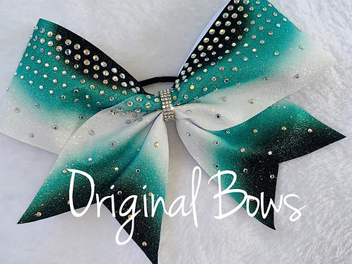 Teal Black and white Burst of color Cheer Bow