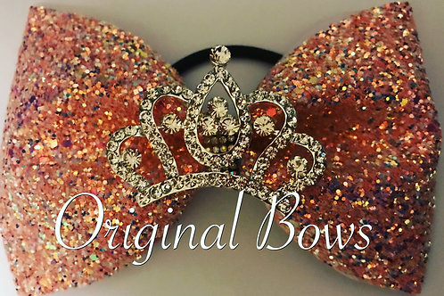 Rose Gold confetti Glitter Tailless Crown Bow