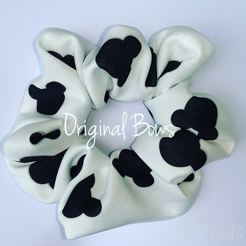 Black and White Mouse Hair Scrunchie