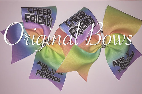 Rainbow Ombre Cheer Friends are the BEST FRIENDS Twinning Cheer Bows