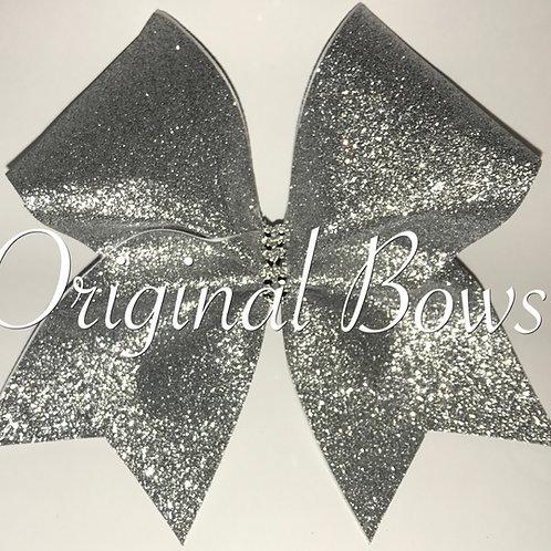 Silver Glitter Cheer Bow
