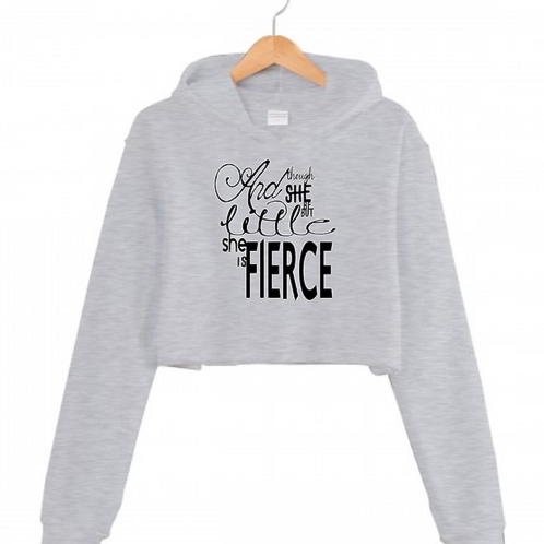 Little but FIERCE Grey Cropped hoodie