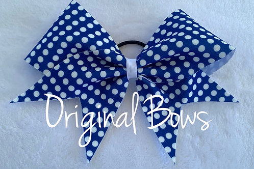 Blue and White Polka Dots Fabric Cheer Bow