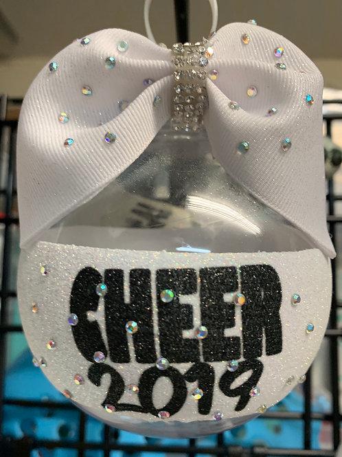 Cheerleader CHEER Clear Rhinestone BALL Cheer Bow Christmas Ornament
