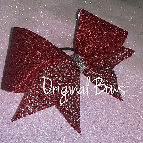 Red rhinestone Glitter Cheer Bow