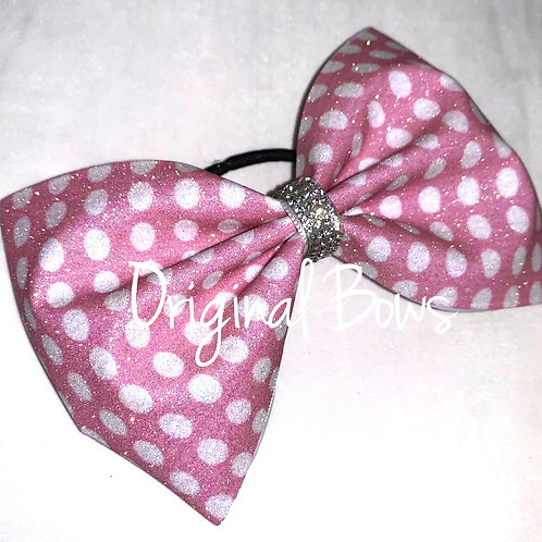 "Tailless 4"" PINK Dots Glitter Cheer Bow"