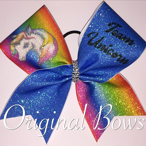 Team Unicorn Rainbow Glitter Cheer Dance Bow