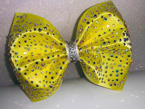 """Yellow Satin Tailless 4"""" Rhinestone Cheer Bow"""