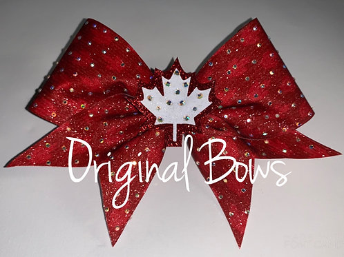 Canada themed Rhinestone glitter Cheer Bow