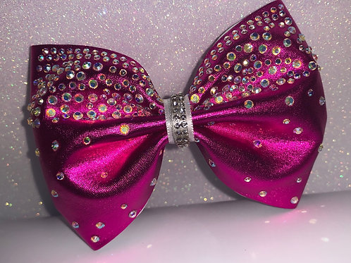 "Hot Pink Tailless 4"" Rhinestone Cheer Bow"