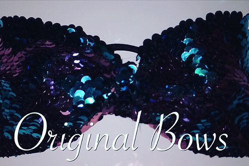 Mermaid Color changing Sequin pink teal Tailess Cheer BOW