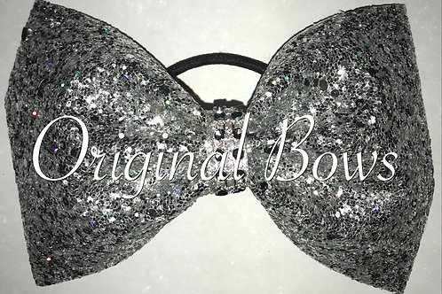 Silver tailless Glitter Cheer Bow