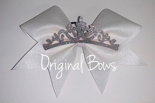 White Glitter Princess Cheer Bow