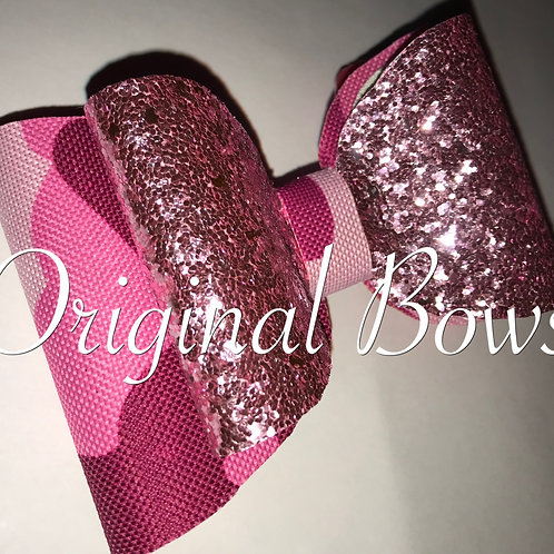 Pink Camo Girl Glitter Double Bow