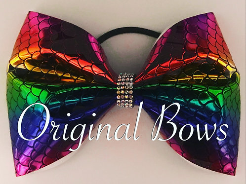 "Rainbow Mermaid shimmer 4"" tailless Cheer Bow"