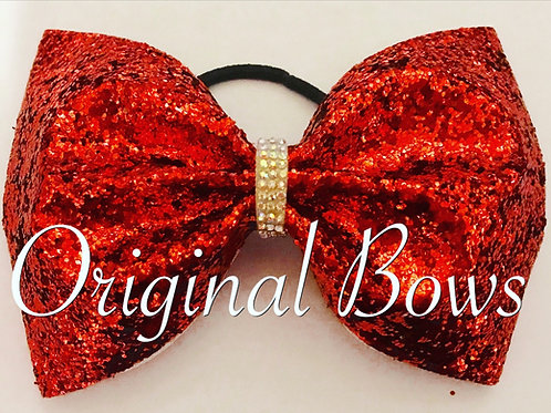 Red tailless Glitter Cheer Bow