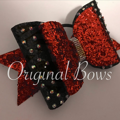 Red and Black Glitter Double Gemmed Bow