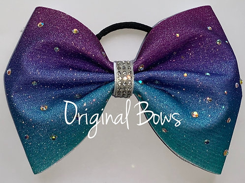 Purple Blue Ombre Glitter Rhinestone Tailless Bow