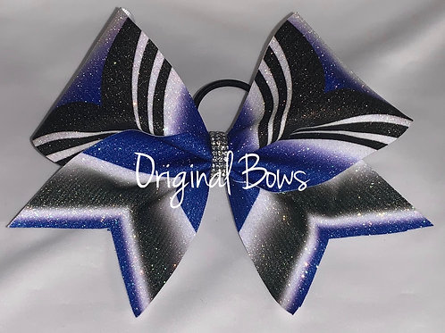 Blue and black glitter Girl Power Cheer Bow