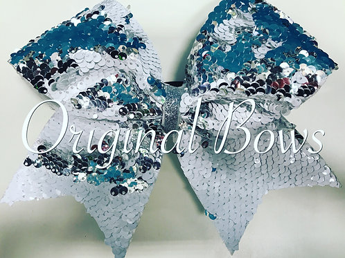 Silver white sequin Mermaid Bow
