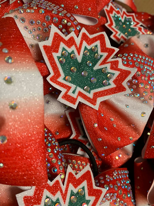 "4"" Ombre Tailless Glitter Rhinestone Cheer Bow with custom center"