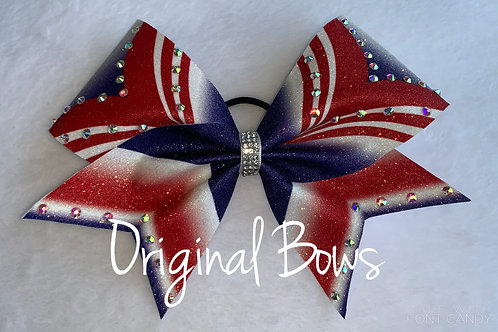 Girl Power Red white and Blue Glitter rhine studded Bow
