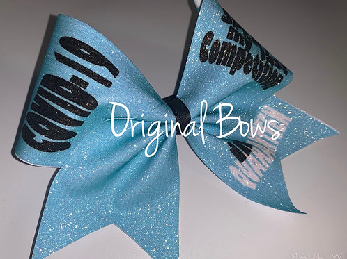 COVID-19 I Spent my Last Competition in QUARANTINE Blue Glitter Cheer Bow