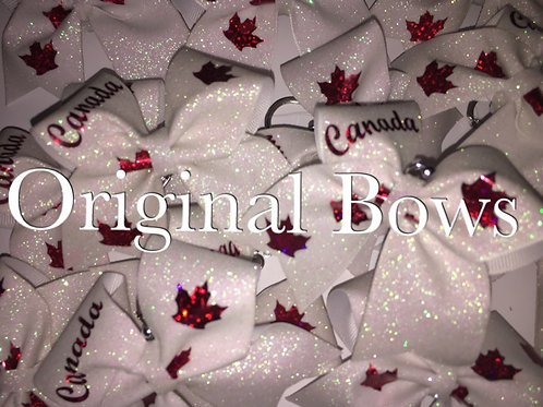 Canada Red & White Mini Key chain Cheer Bow