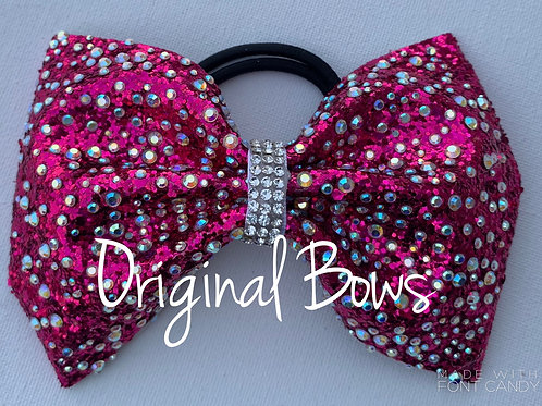 Hot Pink Tailless Rhinestone glitter Cheer Bow