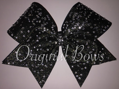 Black Rhinestone Glitter Cheer Bow