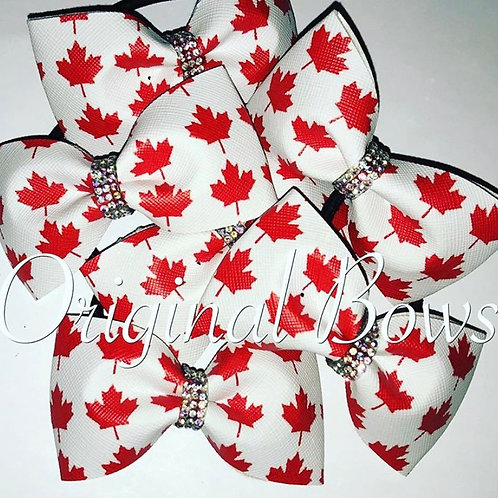 Maple Leaf Canada Red and white Pigtail Mini Bow