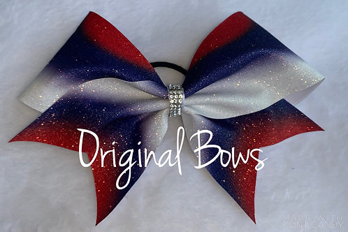 Red Blue and white Burst of color Cheer Bow