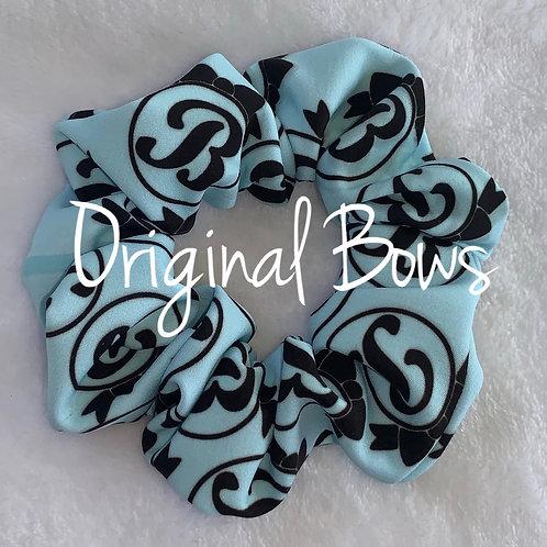 Monogrammed Baby Blue Hair Scrunchie
