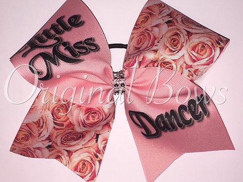 Little Miss Dancer Pink Rosettes Grosgrain Cheer Dance Bow